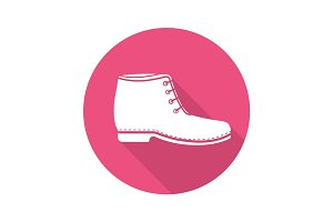 Boot flat design long shadow icon