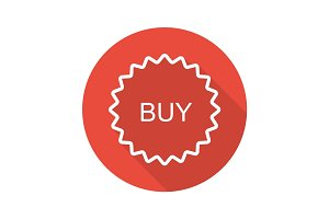 Buy red sticker. Flat linear long shadow icon