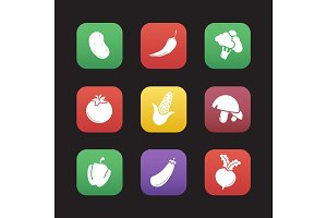 Vegetables flat design icons set