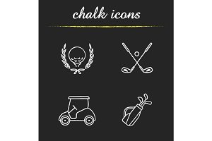 Golf championship chalk icons set