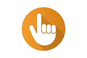Attention hand gesture. Flat design long shadow icon