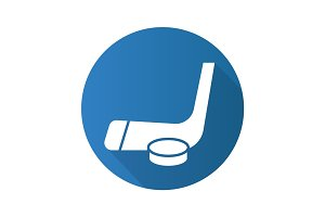 Hockey puck and stick. Flat design long shadow icon