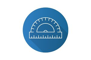 Protractor flat linear long shadow icon