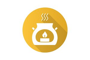 Spa salon aroma candle. Flat design long shadow icon