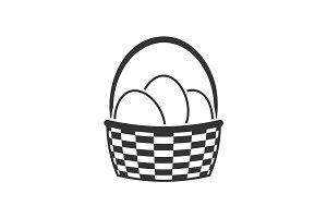 Basket with Easter eggs icon