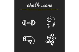 Sport chalk icons set