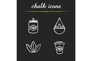Tea chalk icons set