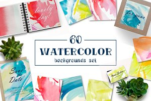 60 Watercolor backgrounds set