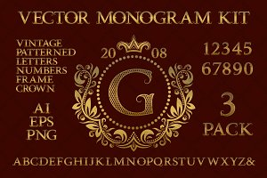 Vintage monogram kit pack 3