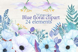 Blue watercolor flowers clipart