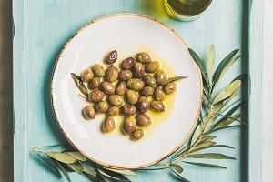 Pickled green Mediterranean olives
