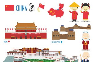 China Monuments & Flat Icon Set