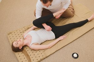 Thai massage - attractive blonde model female - top view