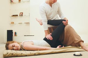 Thai traditional therapy for the spine and legs - shocking strong massage