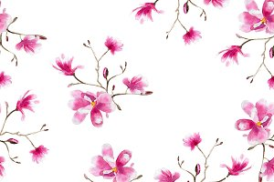 Magnolia watercolor pattern