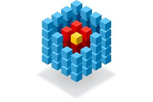 Segmented blue cube infographic