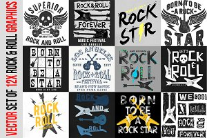 VECTOR SET OF 12X ROCK&ROLL GRAPHICS