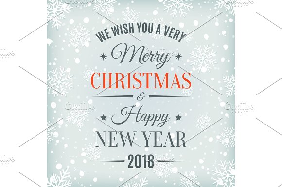 merry christmas and happy new year 2018 card objects