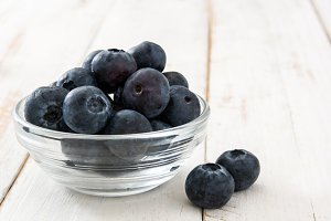 Blueberries in crystal bowl