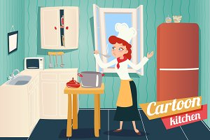 Cartoon Apartment Kitchen