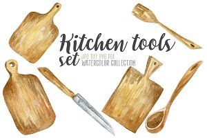 Watercolor kitchen tools set