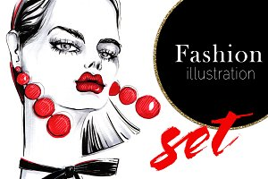 Fashion illustration set