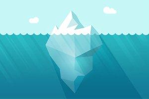 Iceberg on Water Waves Vector