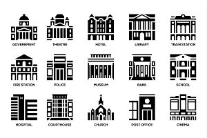 urban municipal government buildings icons