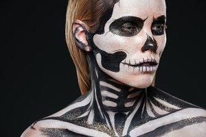 Closeup of girl with terrifying halloween makeup