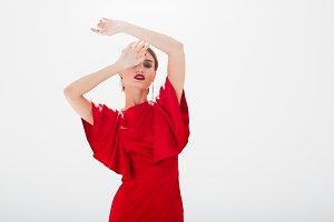 Beautiful model in red dress
