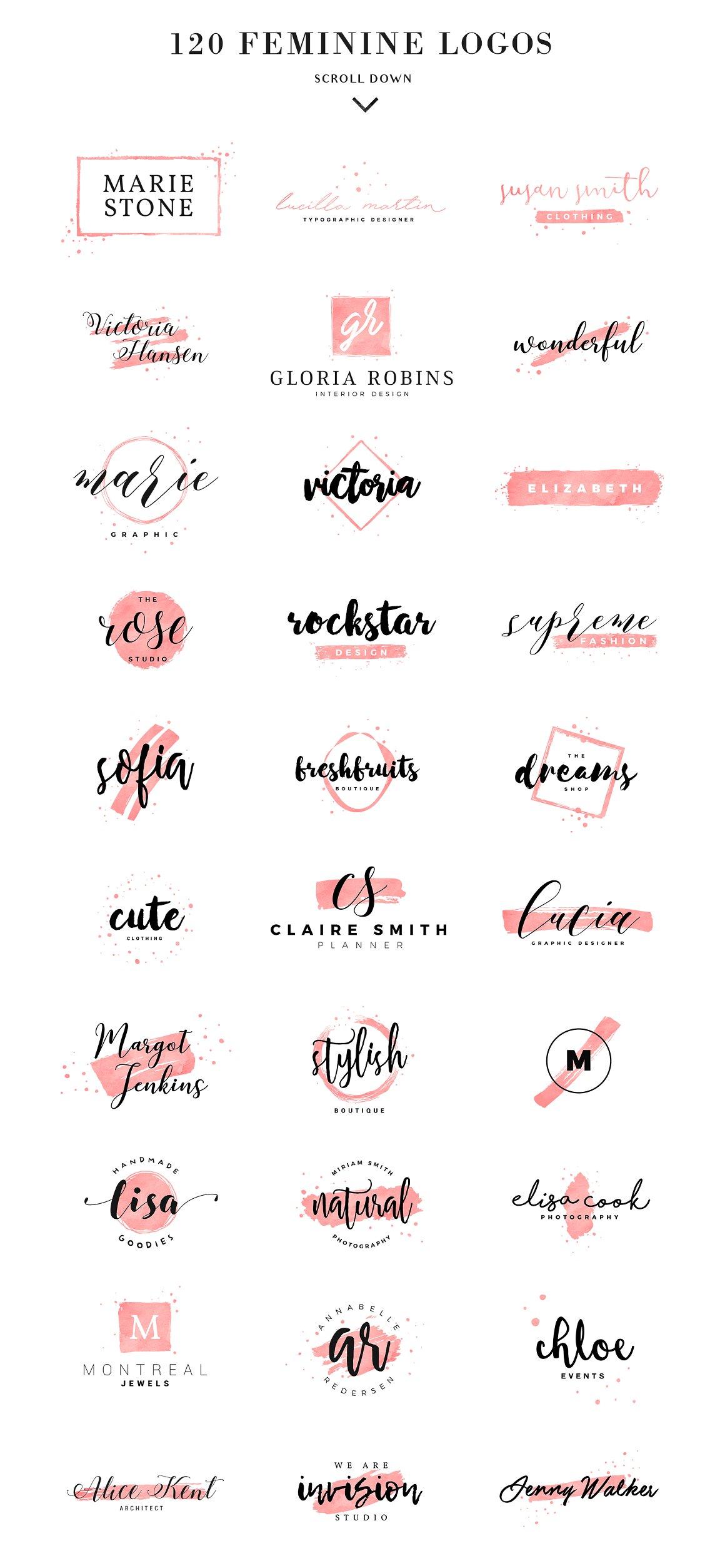 120 Feminine Branding Logos - Logos