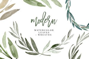 Modern Watercolor Leaves Clipart Set