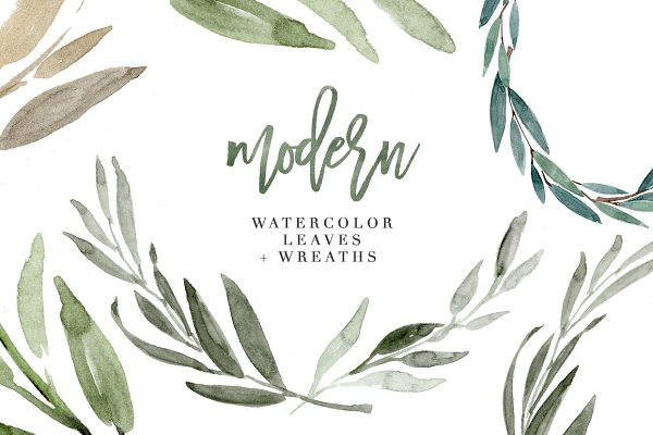 Modern Watercolor Leaves Clipart Se…
