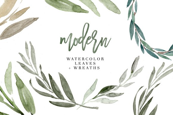 modern watercolor leaves clipart set illustrations creative market