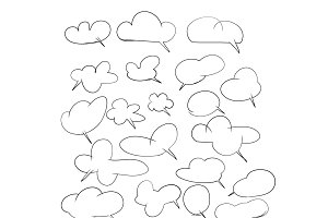 Hand drawing set of cloud