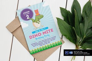 Dino-Mite Birthday Party Invitations