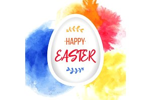 Happy Easter greeting. Paper egg with lettering on colorful watercolor background. Paper art elements holiday greetings