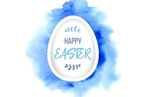 Happy Easter greeting. Paper egg with lettering on blue watercolor background. Paper art elements holiday greeting