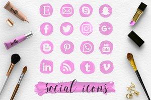 Social Media Icons & Strokes - Pink