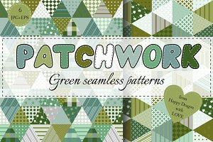 Collection of green patchwork