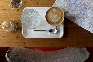 Coffee while reading a map