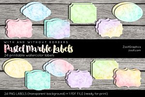 Pastel Marble Labels