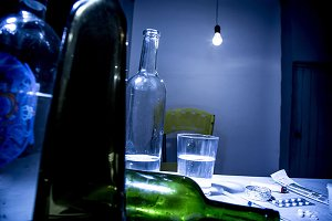lost in the vices of alcoholism,