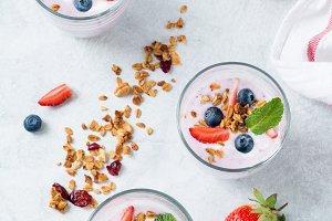 Blueberry yogurt parfaits, top view