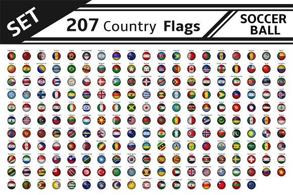 set 207 country flag soccer balls