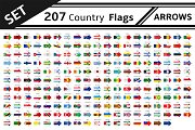 set 207 country flags arrows