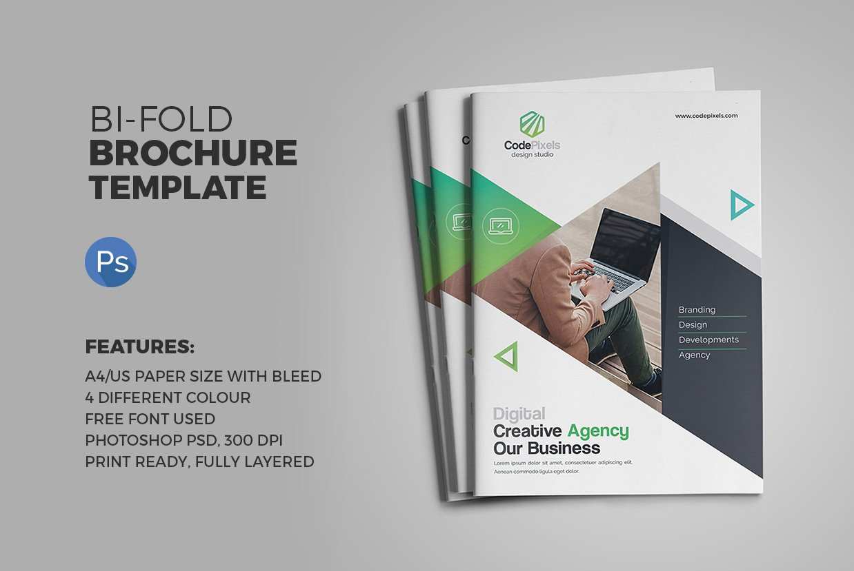 The bi fold brochure brochure templates creative market for Free bi fold brochure template 2