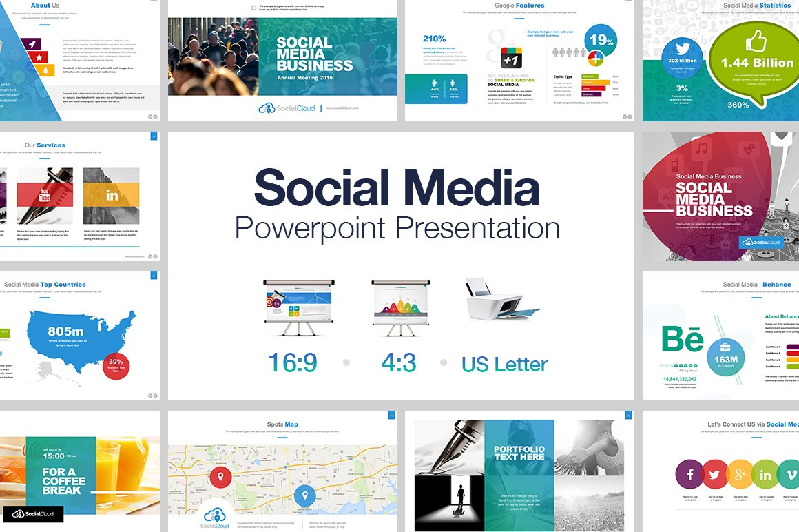social media powerpoint presentation templates creative market. Black Bedroom Furniture Sets. Home Design Ideas