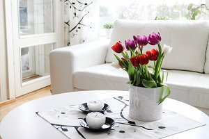 Livingroom with tulips