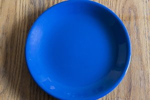 Blue Dish on wood table